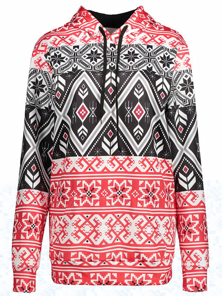 Men's Pullover Sweatshirt Multicolor Long Sleeve Geometric Printed Drawstring Casual Hoodie