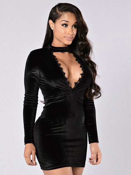 Black Bodycon Choker Dress Sexy Velour Cut Out Plunging Neckline Slim Fit Mini Dress For Women