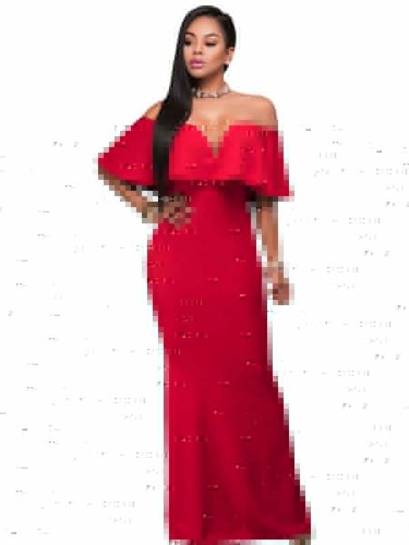 Sexy Maxi Dress Red Off The Shoulder Short Sleeve Ruffle Slim Fit Long Dress For Women