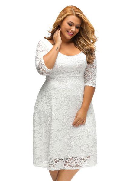 Plus Size White Dress Women's 3/4 Sleeve Round Neck Swing Dress фото