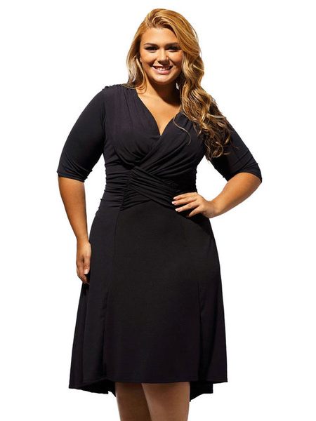Plus Size Dress Black V Neck Women's Half Sleeve Ruched Skater Dress фото