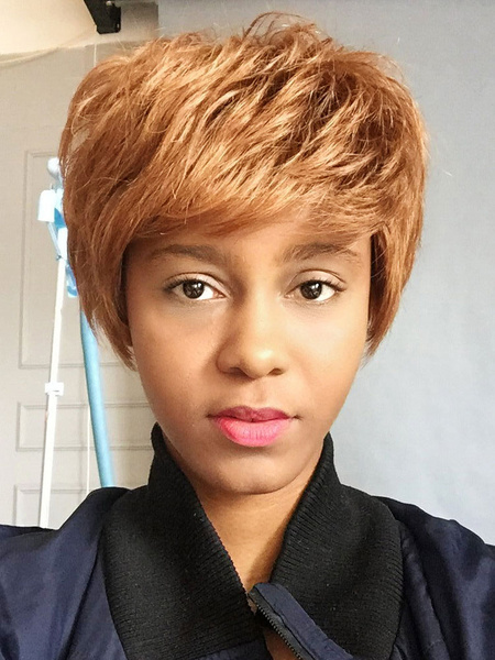 Human Hair Wigs African American Blonde Layered Short Hair Wigs With Bangs фото