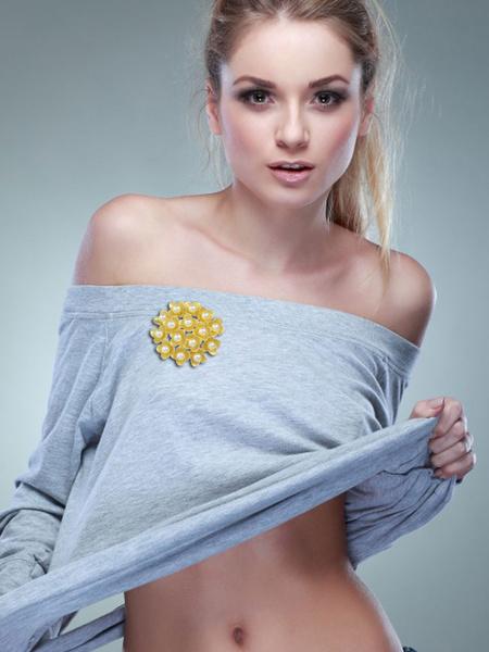 Женская золотой сплав брошь жемчуг цветы pattern повседневная брошь PIN