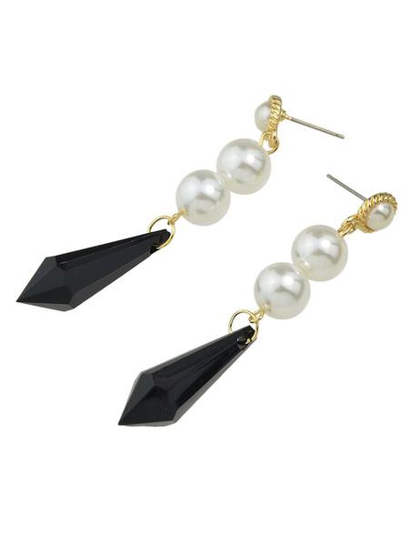 Black Drop Earrings Women's Pearls Pierced Dangle Earrings фото