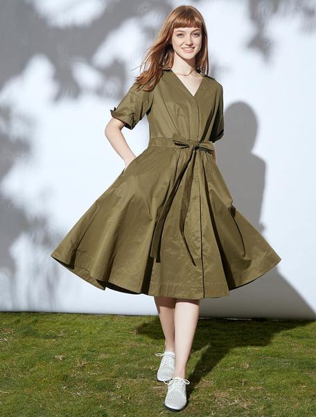 Women's Vintage Dress Hunter Green Cotton V Neck Bow Short Sleeve Retro Skater Dress фото