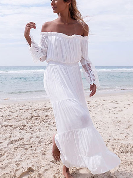 White Maxi Dress Chiffon Off The Shoulder Long Sleeve Pleated Long Dress фото