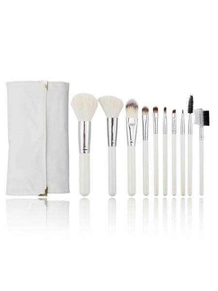 Brosse De Maquillage Set De 10 Pièces En Bois Blanc De Fibres Synthétiques, De La Beauté Des Brosses Avec Cas