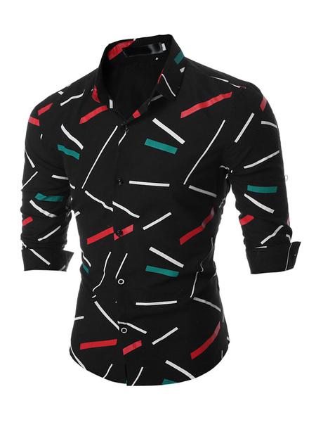 Men's Black Shirt Long Sleeve Printed Casual Shirts фото