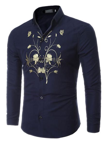 Men's Cotton Shirt Dark Navy Turndown Collar Long Sleeve Printed Casual Shirt фото