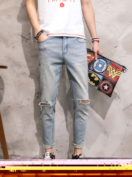 Men's Ripped Jeans Blue Cropped Denim Jeans фото