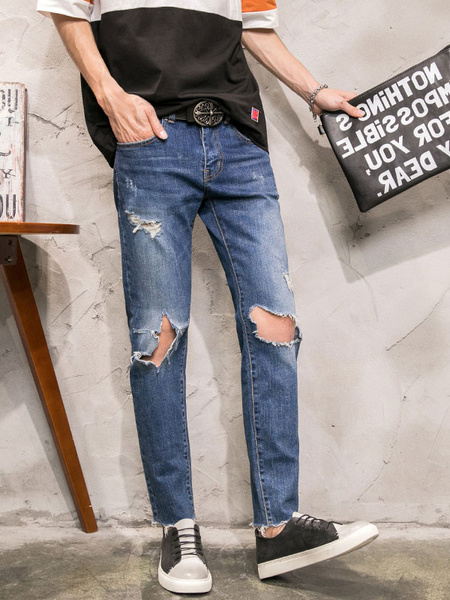 Blue Ripped Jeans Men's Distressed Chic Denim Pants фото
