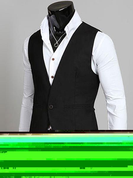Black Jacket Vest V Neck Sleeveless Cotton Slim Fit Waistcoat For Men фото