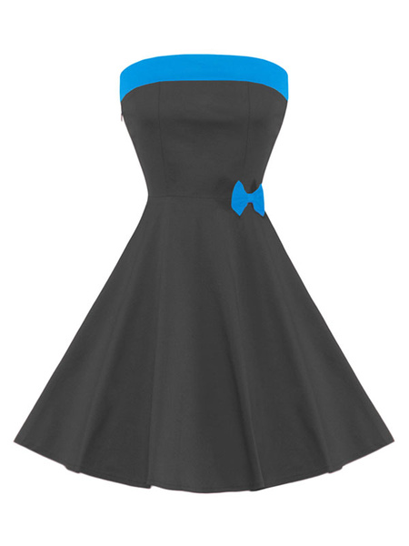 Black Skater Dress Two Tone Strapless Sleeveless Bow Pleated Flare Dress фото