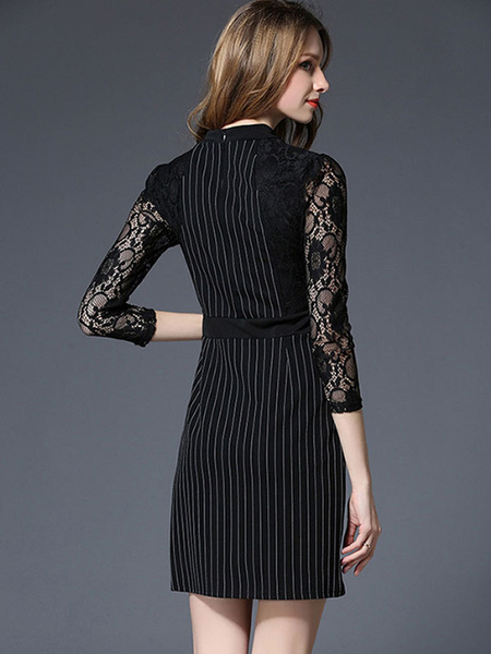 Milanoo / Negro Bodycon vestido encaje 3/4 longitud manga redondo cuello rayada Slim Fit Vestido