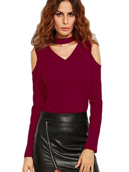 Women's Burgundy T Shirt V Neck Long Sleeve Cold Shoulder Choker Design Top фото