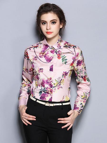 Damen rosa Hemd verbreiten Hals Langarm Floral bedruckten T-Shirt mit Knöpfen