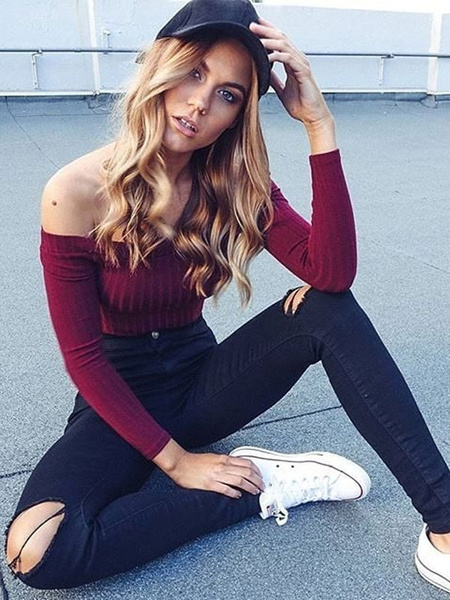 Women's Burgandy T Shirt Off The Shoulder Long Sleeve Elastic Sexy Top фото
