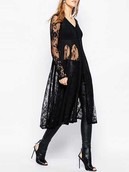 Beach Cover Up Black Lace Sheer V Neck Long Sleeve Women's Bathing Suit фото