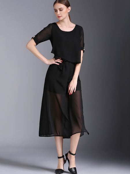 Black Summer Dress Chiffon Round Neck Short Sleeve Semi-Sheer Slim Fit Dress For Women