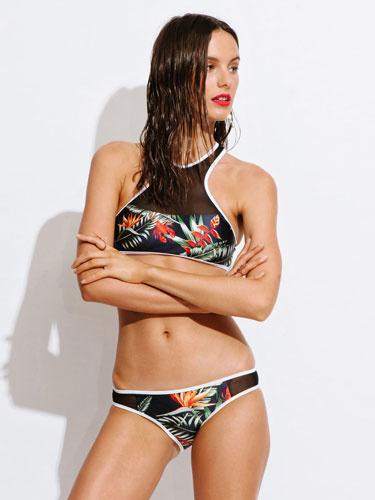 2 Piece Swimsuit Deep Blue Round Neck Sleeveless Printed Crop Bikini With Bottom For Women
