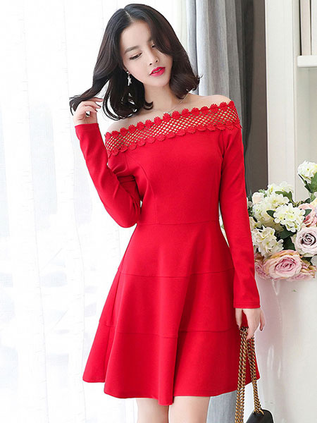 Red Skater Dress Off The Shoulder Long Sleeve Lace Patchwork Women's Fit And Flare Dress