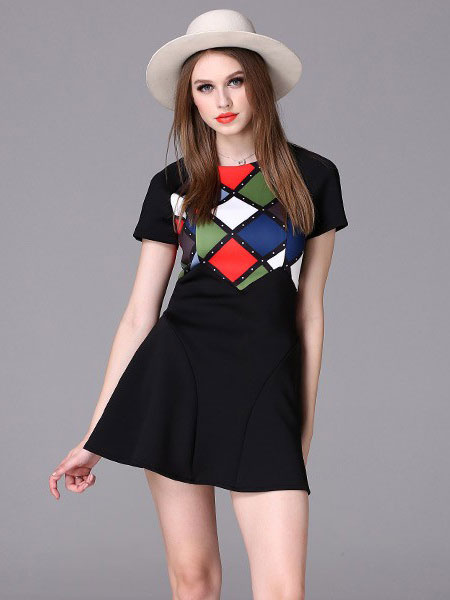 Short Black Dress Women's Color Block Round Neck Short Sleeve Printed A Line Mini Skater Dress фото