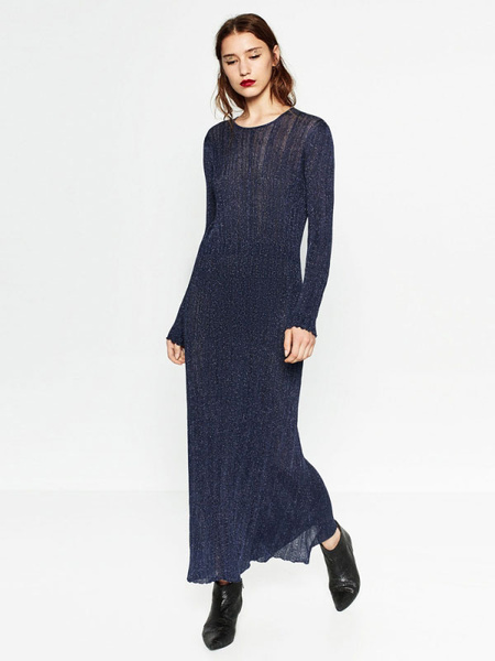 Blue Maxi Dress Round Neck Long Sleeve Back Cut Out Ruffle Long Dress