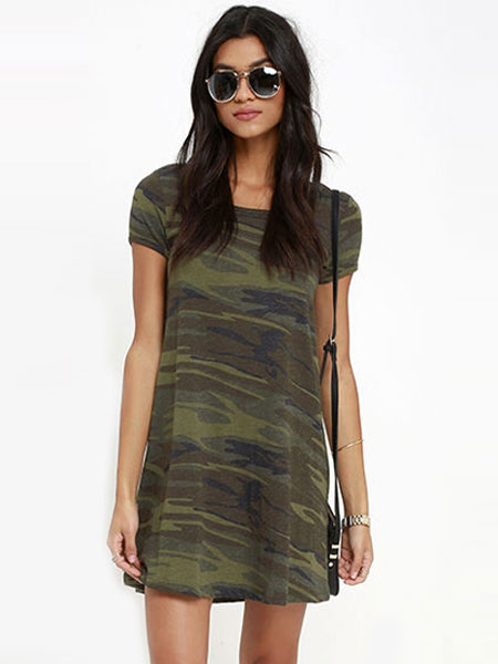 Camouflage Shift Dress Women's Short Sleeve Round Neck Printed T Shirt Dress