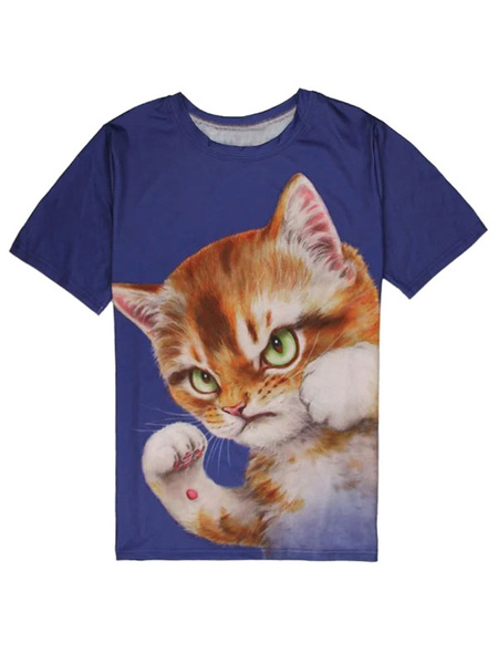 Short Sleeve T Shirt Deep Blue Round Neck Cat Printed Casual T Shirt For Men фото