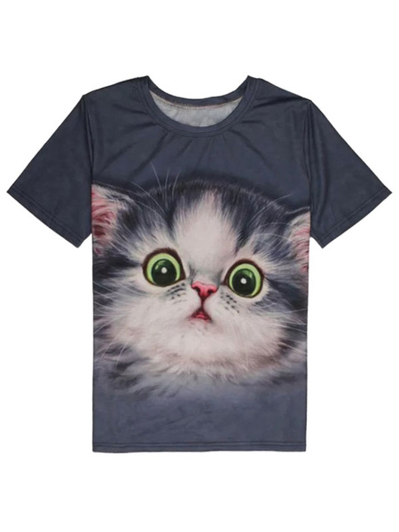 Grey Men's T Shirt Short Sleeve Round Neck Cat Printed Casual Top фото