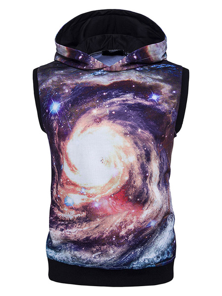 Men's Pullover Sweatshirt Sleeveless Galaxy Printed Cotton Vest Hoodie