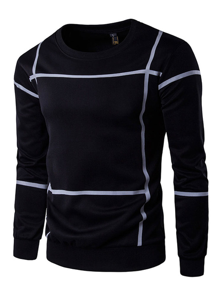 Black Pullover Sweatshirt Plaid Long Sleeve Regular Fit Crew Hoodie For Men