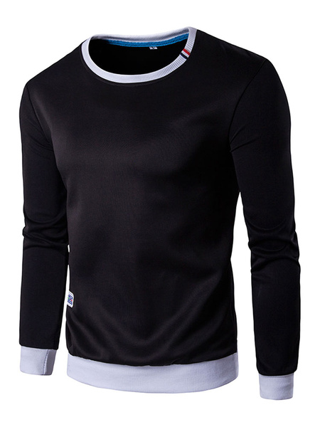 Black Pullover Sweatshirt Long Sleeve Regular Fit Cotton Crew Hoodie For Men