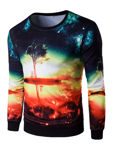 Men's Pullover Sweatshirt Multicolor Printed Long Sleeve Crew Hoodie