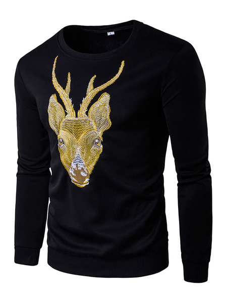 Black Pullover Sweatshirt Men's Round Neck Long Sleeve Deer Printed Cotton Top