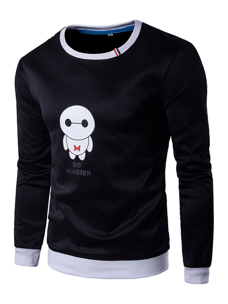 Black Pullover Sweatshirt Men's Long Sleeve Baymax Printed Crew Hoodie