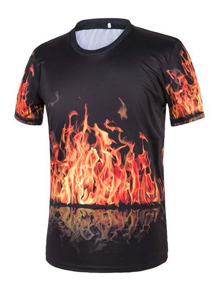 Black Men's T Shirt Short Sleeve Round Neck Fire Printed Casual Top фото