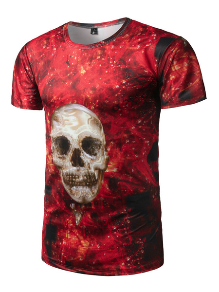 Men's Red T Shirt Round Neck Short Sleeve Skull Printed Slim Fit Top фото