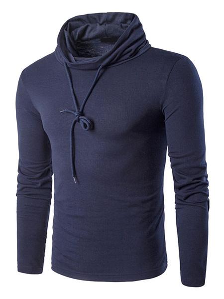 Длинный темно-синий свитшот мужская водолазка с рукавами повседневный топ