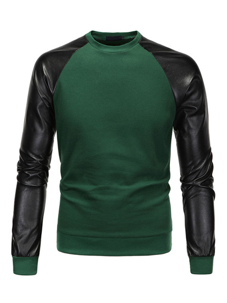 Green Pullover Sweatshirt Contrast Raglan Long Sleeve Crew Hoodie For Men