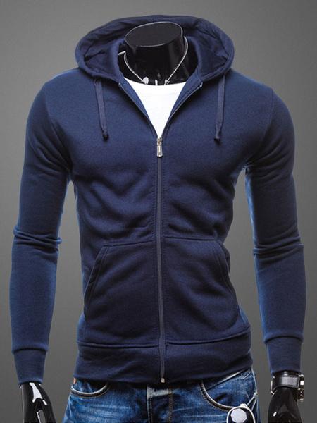 Men's Hooded Sweatshirt Dark Navy Long Sleeve Drawstring Zip Up Cotton Hoodie фото