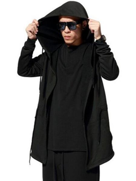Image of Men's Hooded Coat Oversized Black Drawstring Long Sleeve Autumn Coat