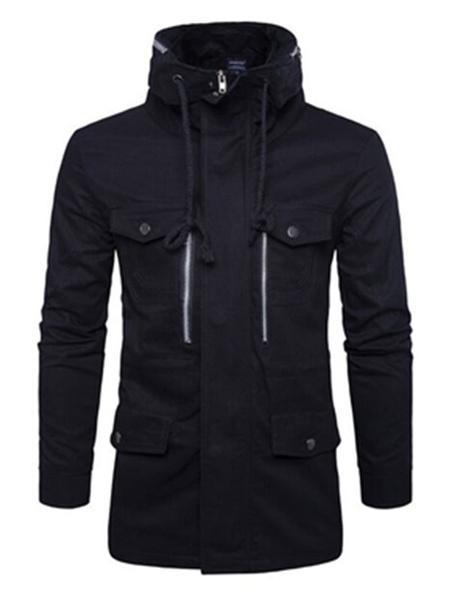 Черная мужская куртка с кулиской длинные водолазка на молнии рукав регулярные Fit куртка