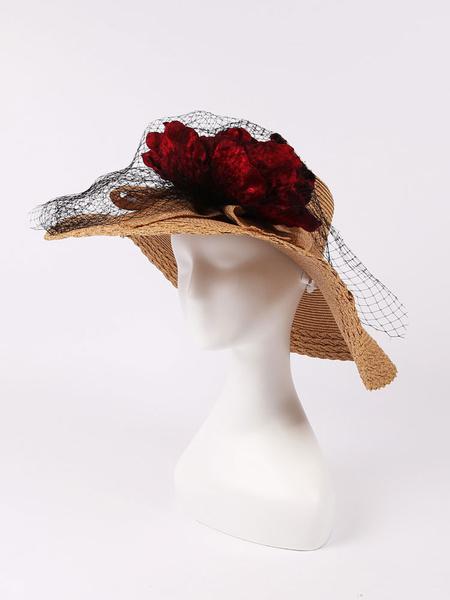 Summer Sun Hat Women's Tan Flowers Mesh Straw Beach Hat фото