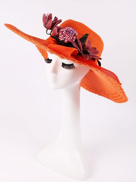 Summer Straw Hat Women's Flowers Ribbon Orange Beach Sun Hat фото