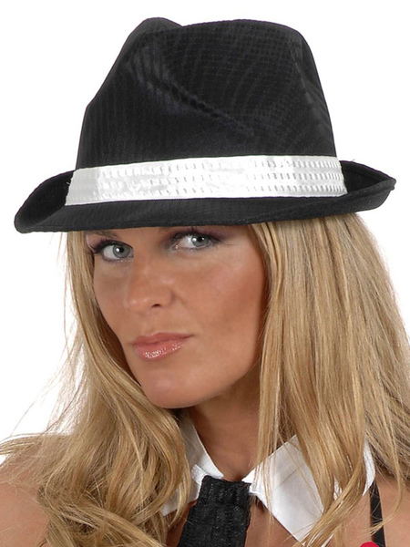 Black Trilby Hat Women's Viscose Hip Hop Cap фото