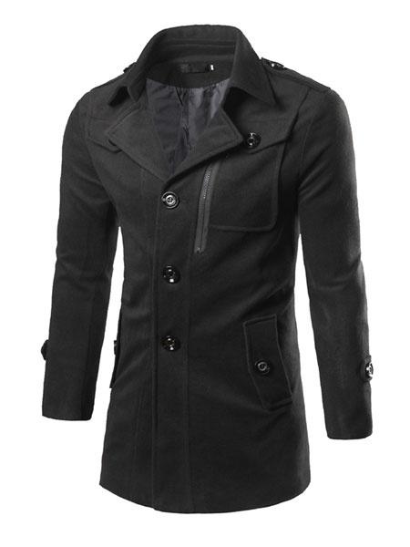 Black Pea Coat Men's Turndown Collar Long Sleeve Button Casual Coat фото