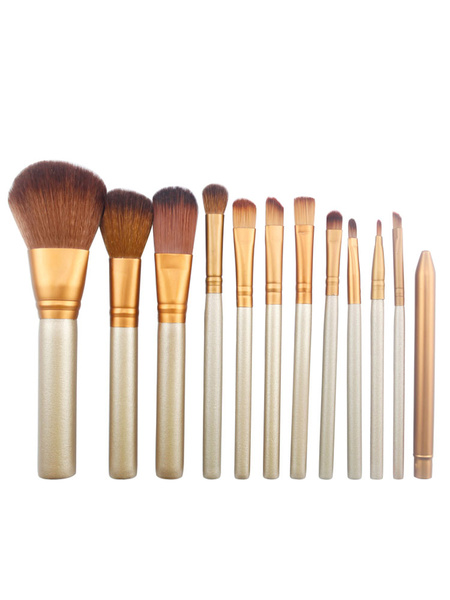 Grey Brush Set Faux Fur Makeup Brush In 12 Pieces фото