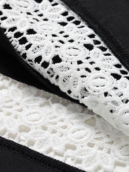 Milanoo / Vestido Skater negro ronda cuello manga larga Slim Fit vestido para las mujeres