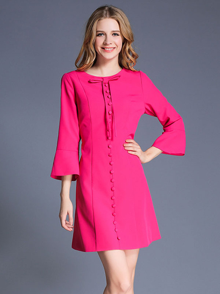 Fuchsia Shift Dress Round Neck Bell Long Sleeve Bow Short Dress With Buttons фото